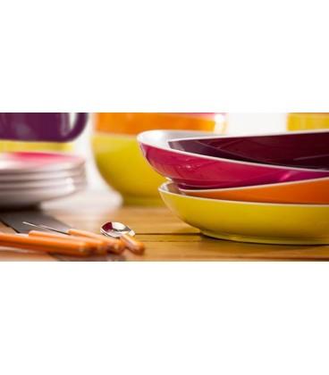 Luxus Brunner melamin sæt i friske farver med anti slip